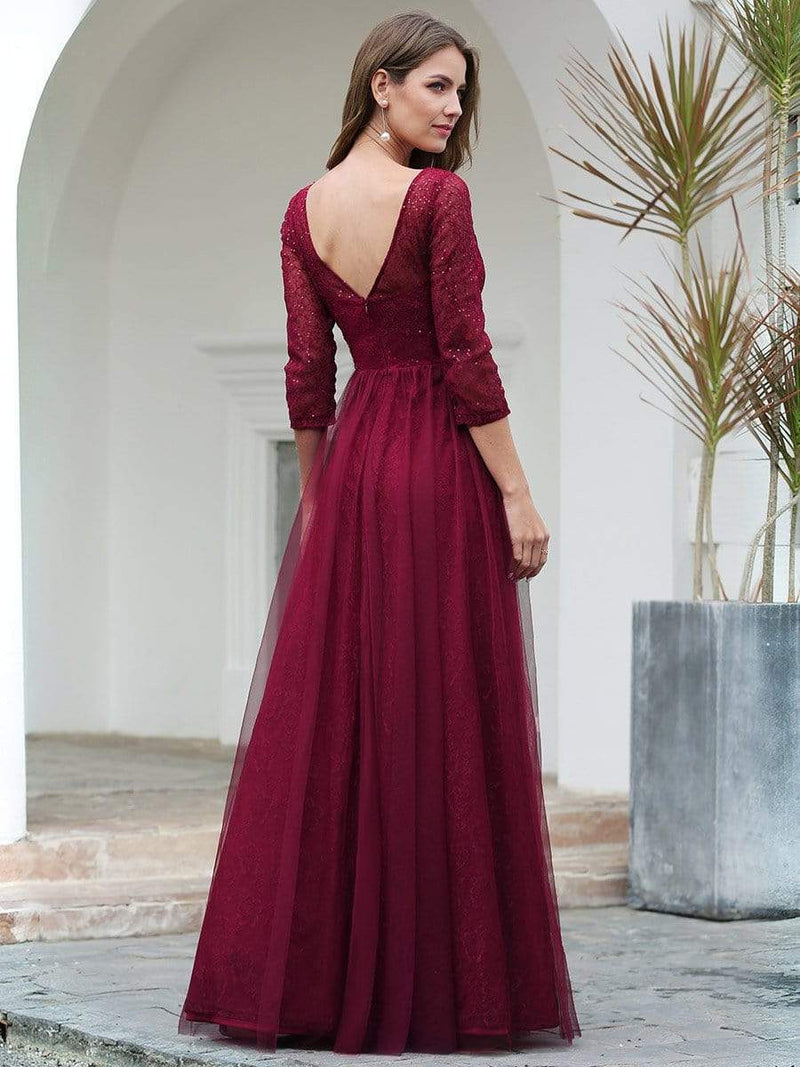 Women'S V-Neck 3/4 Sleeve Lace Wedding Dress-Burgundy 2