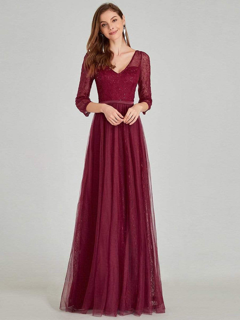 Women'S V-Neck 3/4 Sleeve Lace Wedding Dress-Burgundy 6