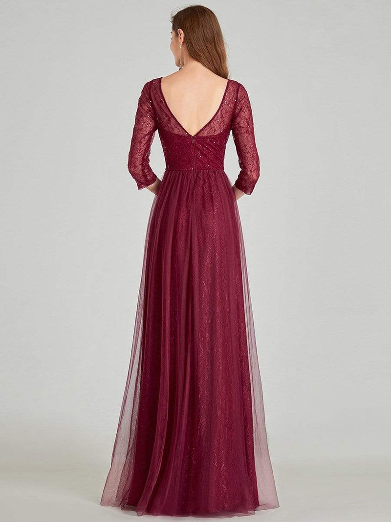 Women'S V-Neck 3/4 Sleeve Lace Wedding Dress-Burgundy 7