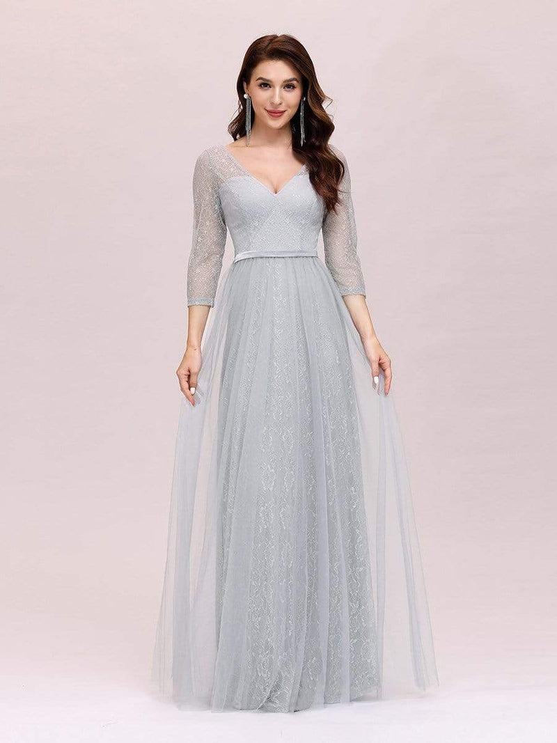 Women'S V-Neck 3/4 Sleeve Lace Wedding Dress-Grey 3