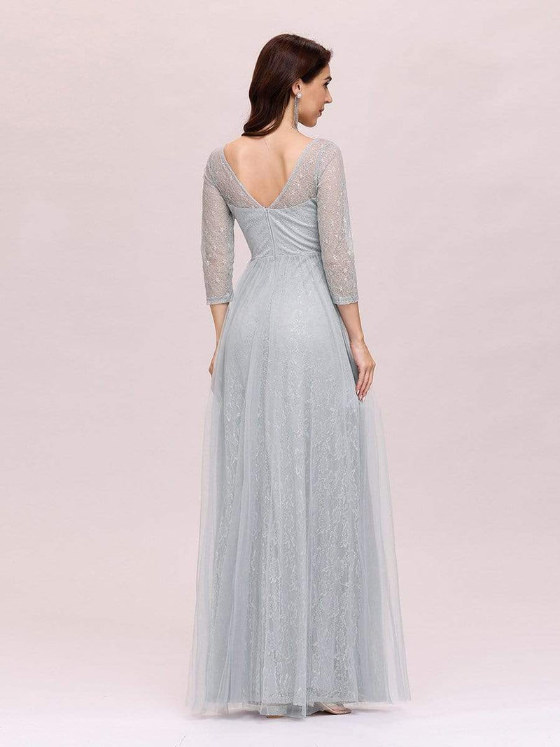 Women'S V-Neck 3/4 Sleeve Lace Wedding Dress-Grey 4