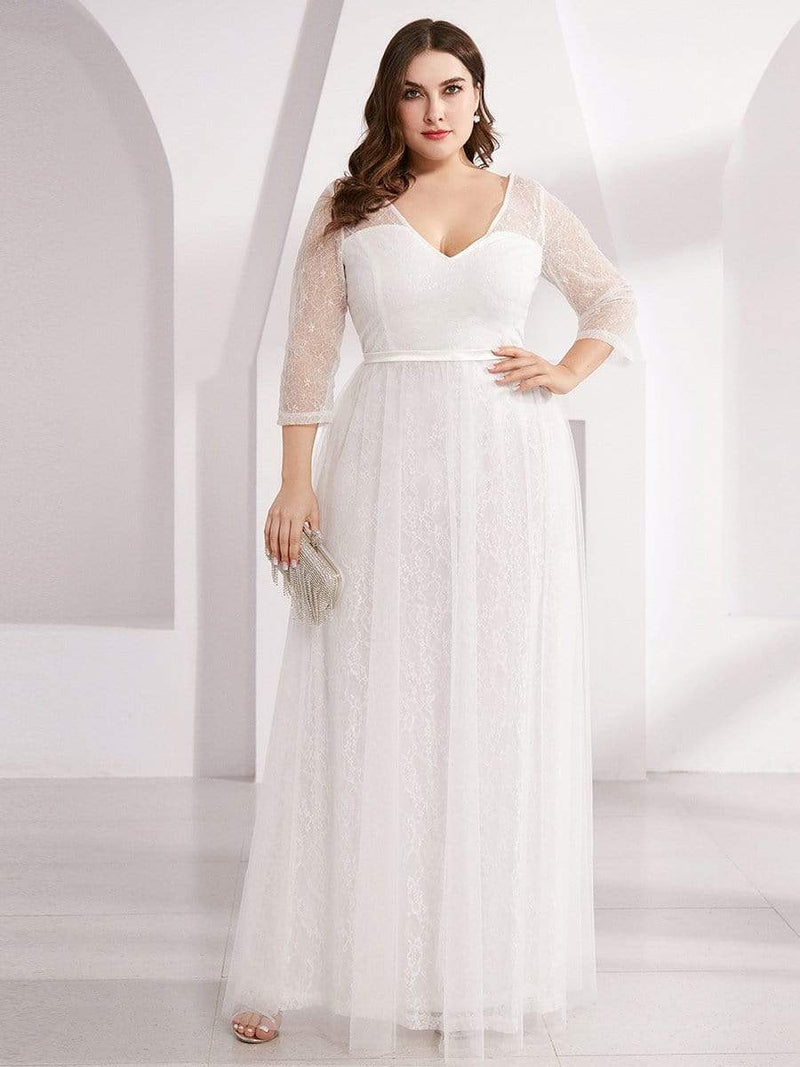 Women'S V-Neck 3/4 Sleeve Lace Wedding Dress-White 9
