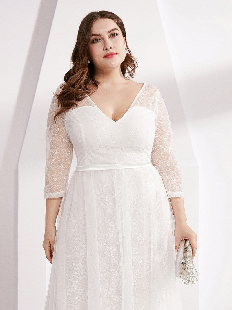 Women'S V-Neck 3/4 Sleeve Plus Size Lace Wedding Dress-White 5