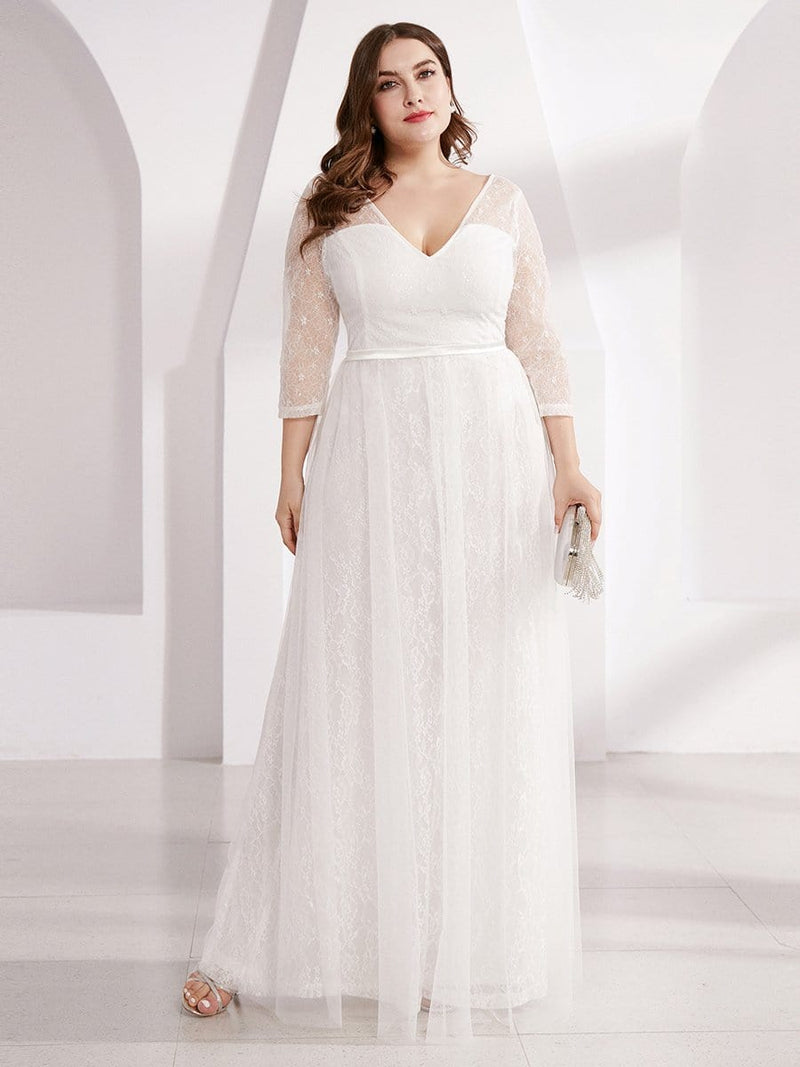 Women'S V-Neck 3/4 Sleeve Plus Size Lace Wedding Dress-White 1