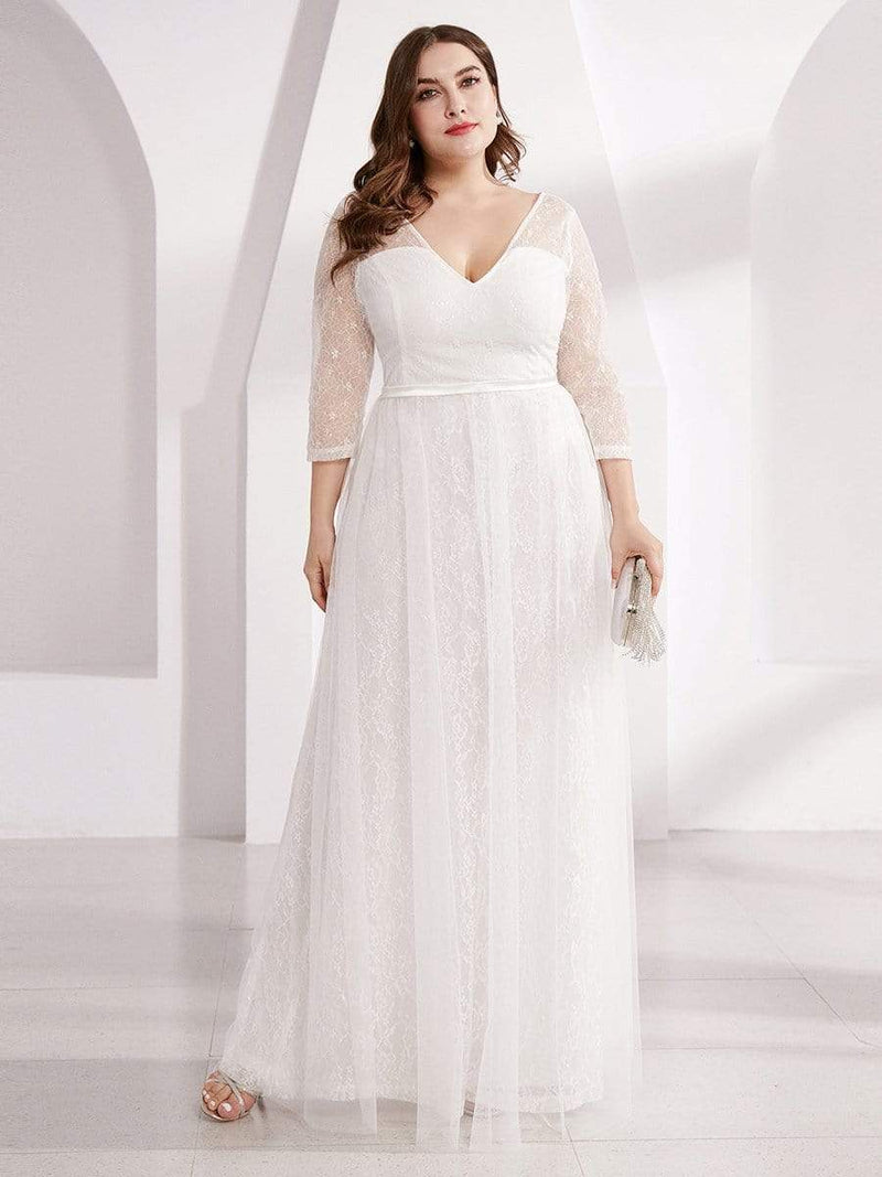 Women's V-Neck Lace Plus Size Wedding Guest Dresses with 3/4 Sleeve
