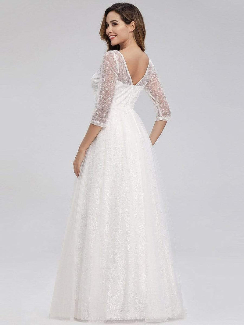Women'S V-Neck 3/4 Sleeve Lace Wedding Dress-White 8