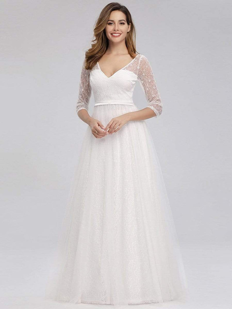 Women'S V-Neck 3/4 Sleeve Lace Wedding Dress-White 7