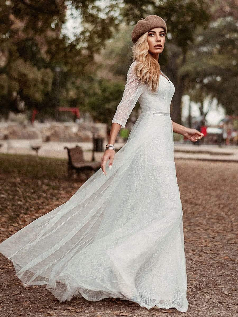 Women'S V-Neck 3/4 Sleeve Lace Wedding Dress-White 1