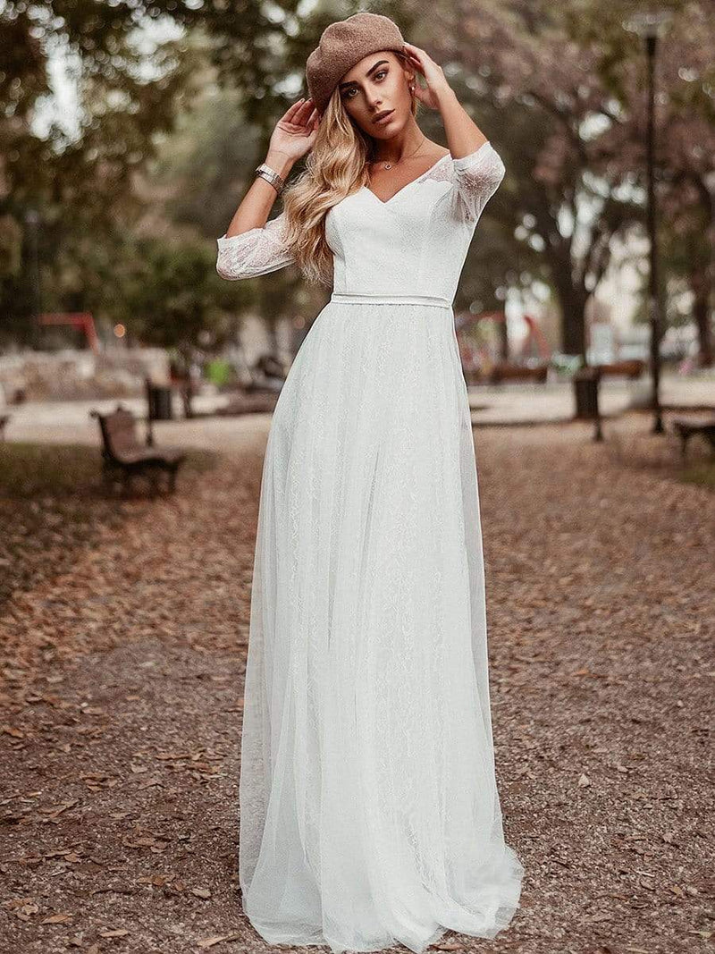 Women'S V-Neck 3/4 Sleeve Lace Wedding Dress-White 2