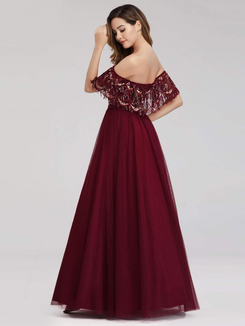Women'S Off The Shoulder Sequin Ruffles Floor-Length Evening Dress-Burgundy 4