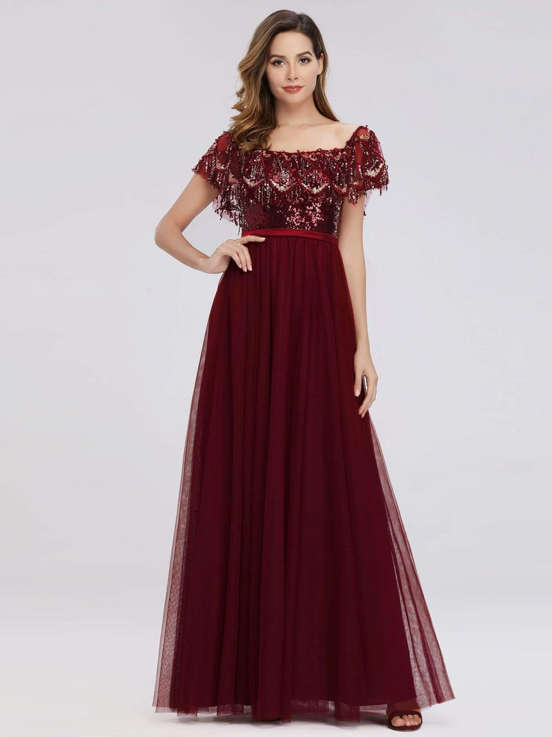 Women'S Off The Shoulder Sequin Ruffles Floor-Length Evening Dress-Burgundy 1