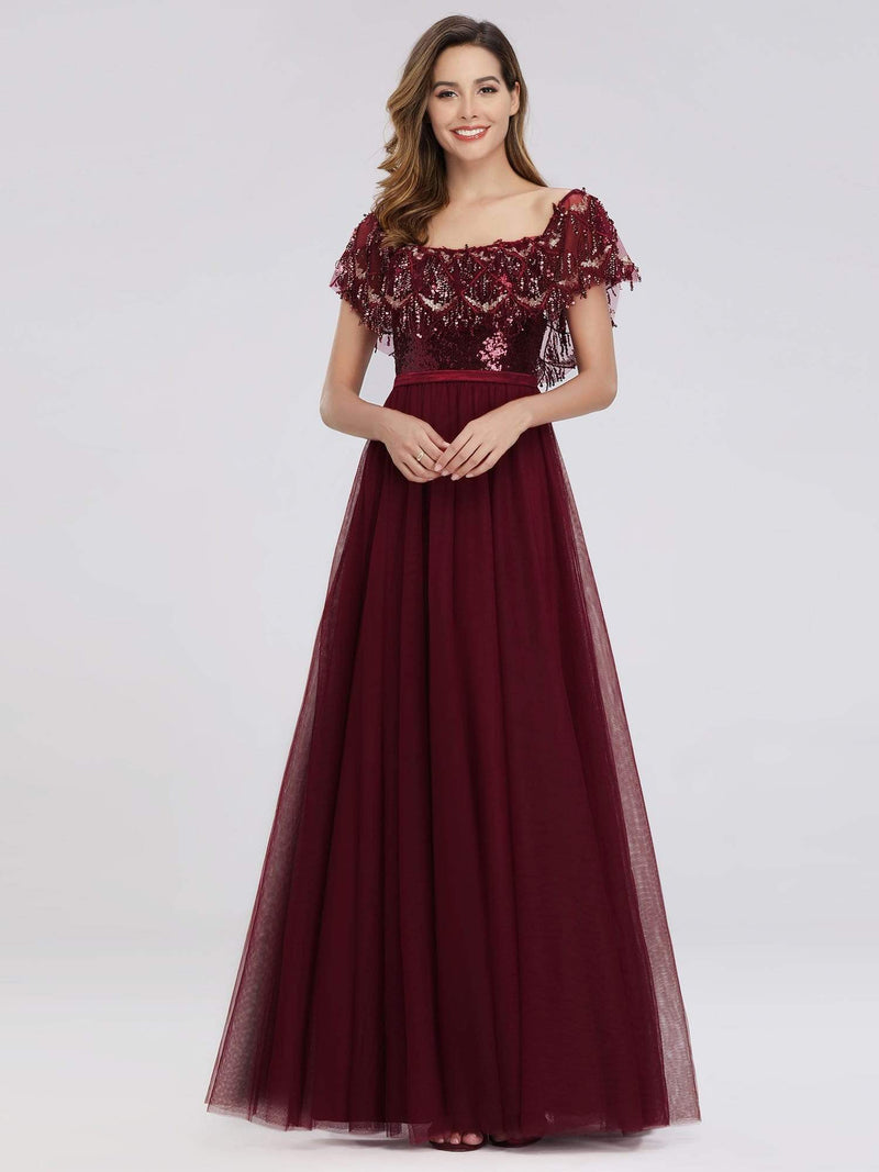 Women'S Off The Shoulder Sequin Ruffles Floor-Length Evening Dress-Burgundy 3