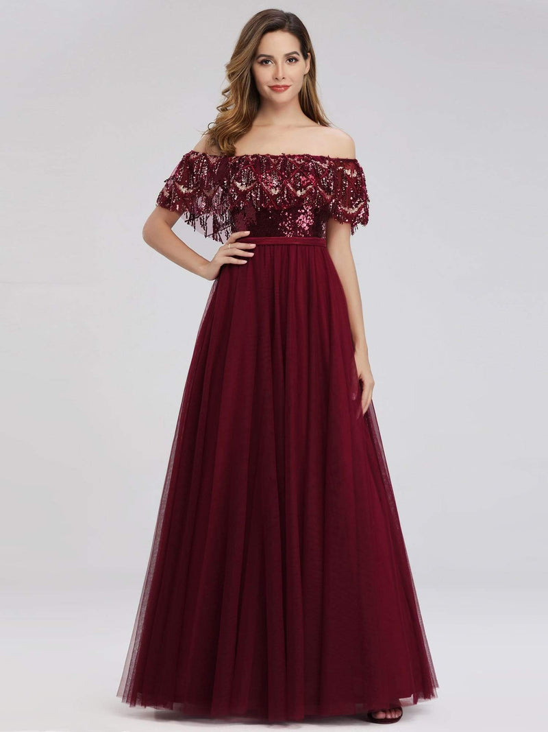 Women'S Off The Shoulder Sequin Ruffles Floor-Length Evening Dress-Burgundy 2