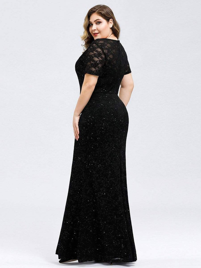 Women'S See-Through Lace Floor Length Maxi Dress-Black 4
