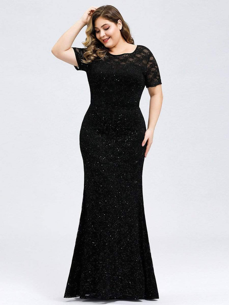 Women'S See-Through Lace Floor Length Maxi Dress-Black 3
