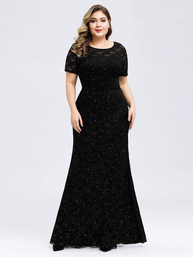Women'S See-Through Lace Floor Length Maxi Dress-Black 1
