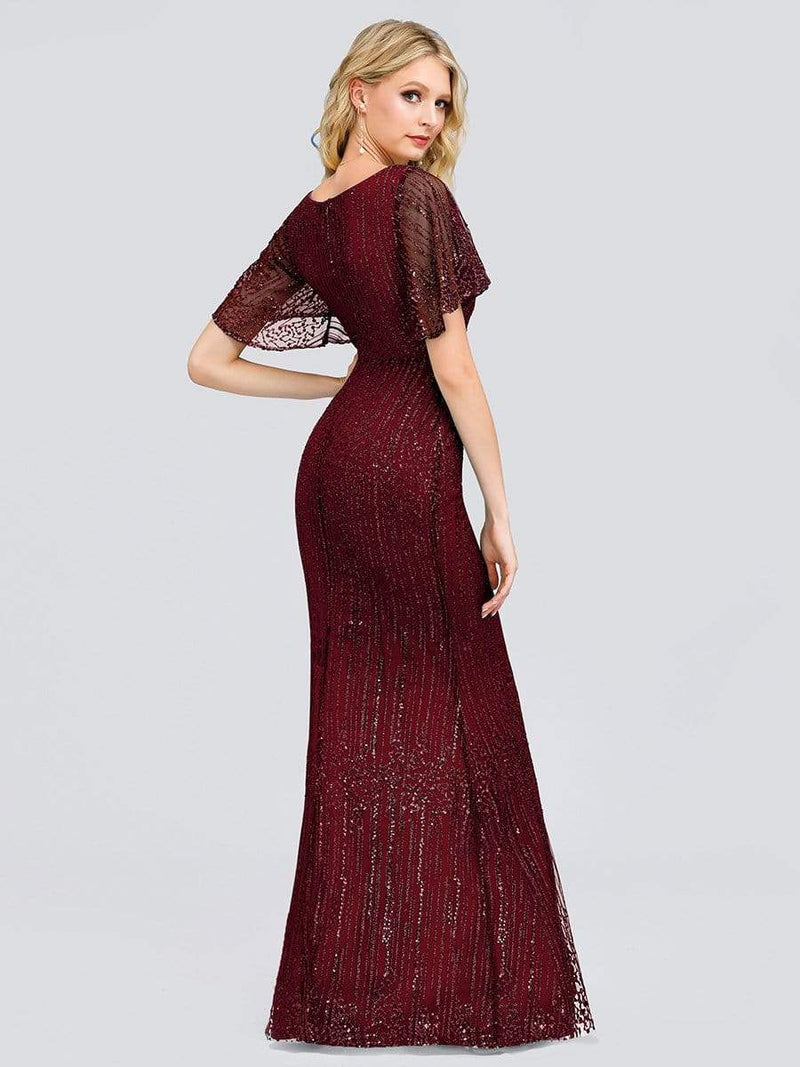 Deep V Neck Shiny Fishtail Evening Dress With Flutter Sleeves-Burgundy 2