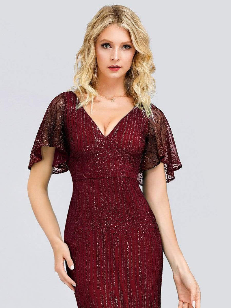 Deep V Neck Shiny Fishtail Evening Dress With Flutter Sleeves-Burgundy 5