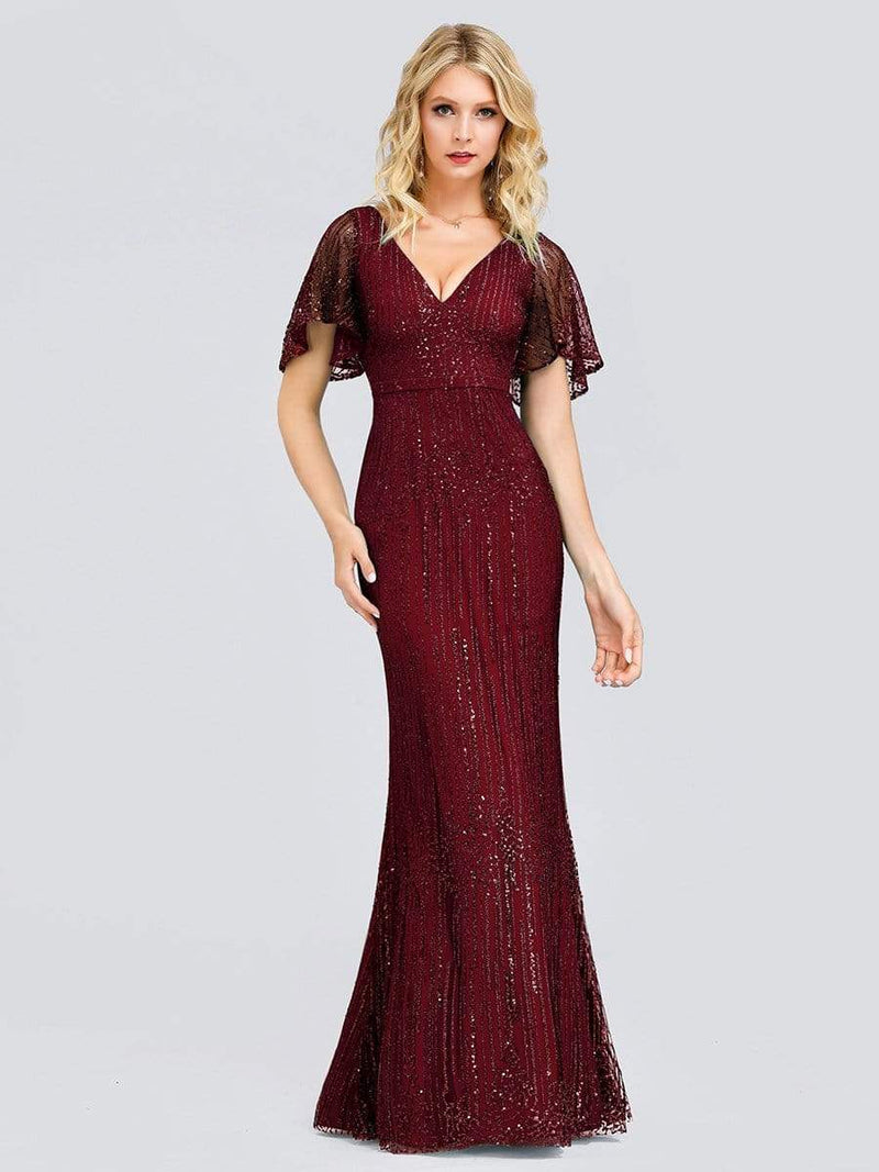 Deep V Neck Shiny Fishtail Evening Dress With Flutter Sleeves-Burgundy 1