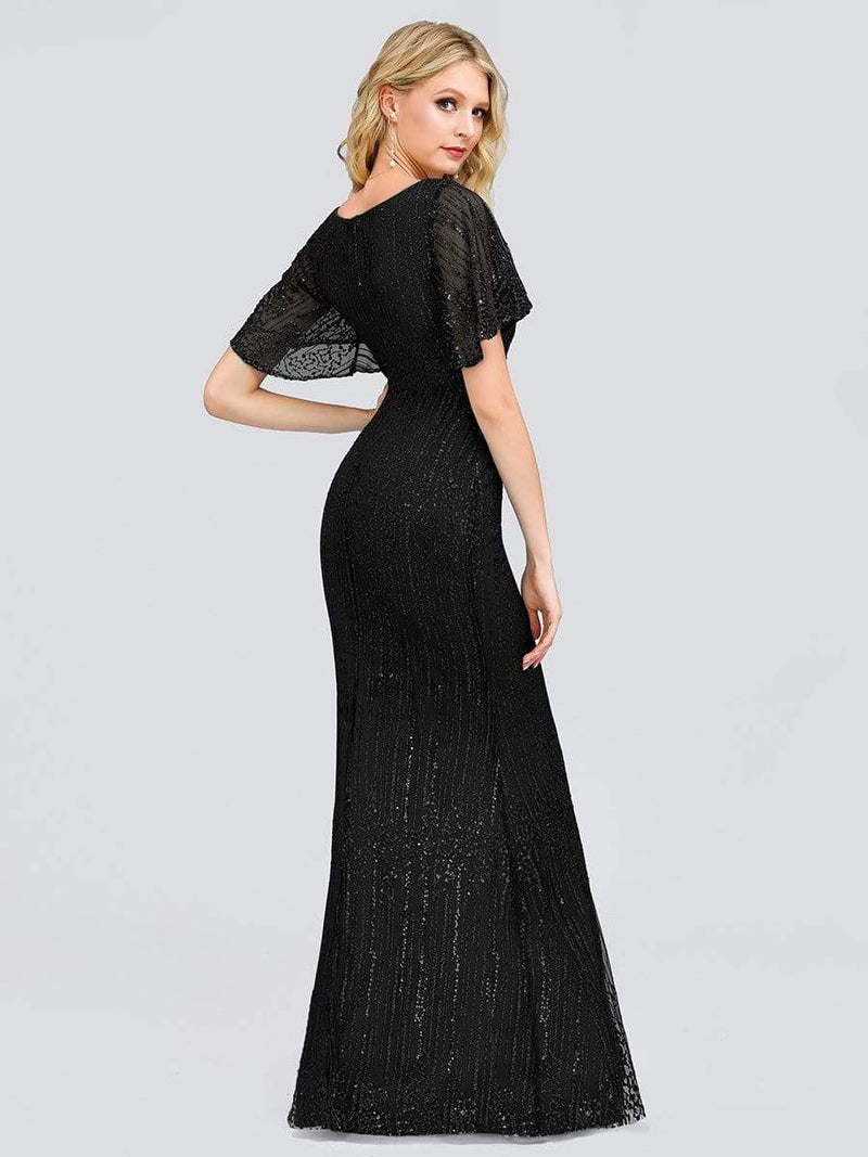 Deep V Neck Shiny Fishtail Evening Dress With Flutter Sleeves-Black 2