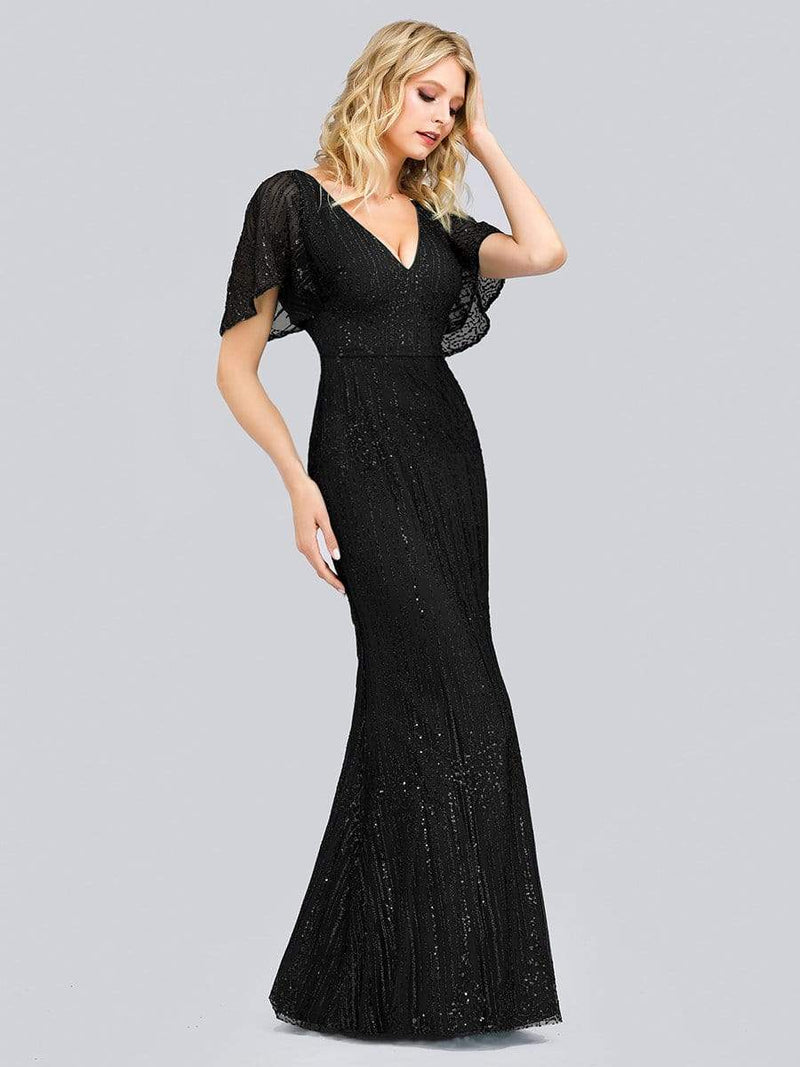 Deep V Neck Shiny Fishtail Evening Dress With Flutter Sleeves-Black 3