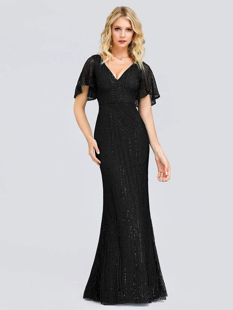 Deep V Neck Shiny Fishtail Evening Dress With Flutter Sleeves-Black 1