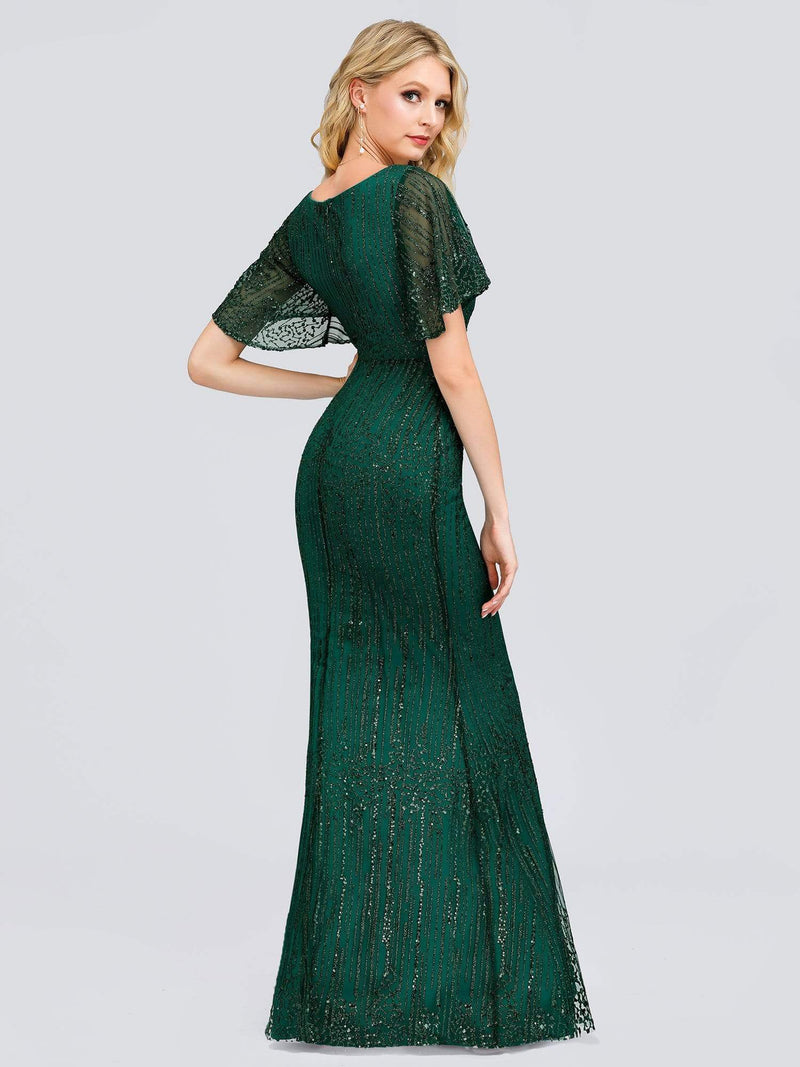 Deep V Neck Shiny Fishtail Evening Dress With Flutter Sleeves-Dark Green 7