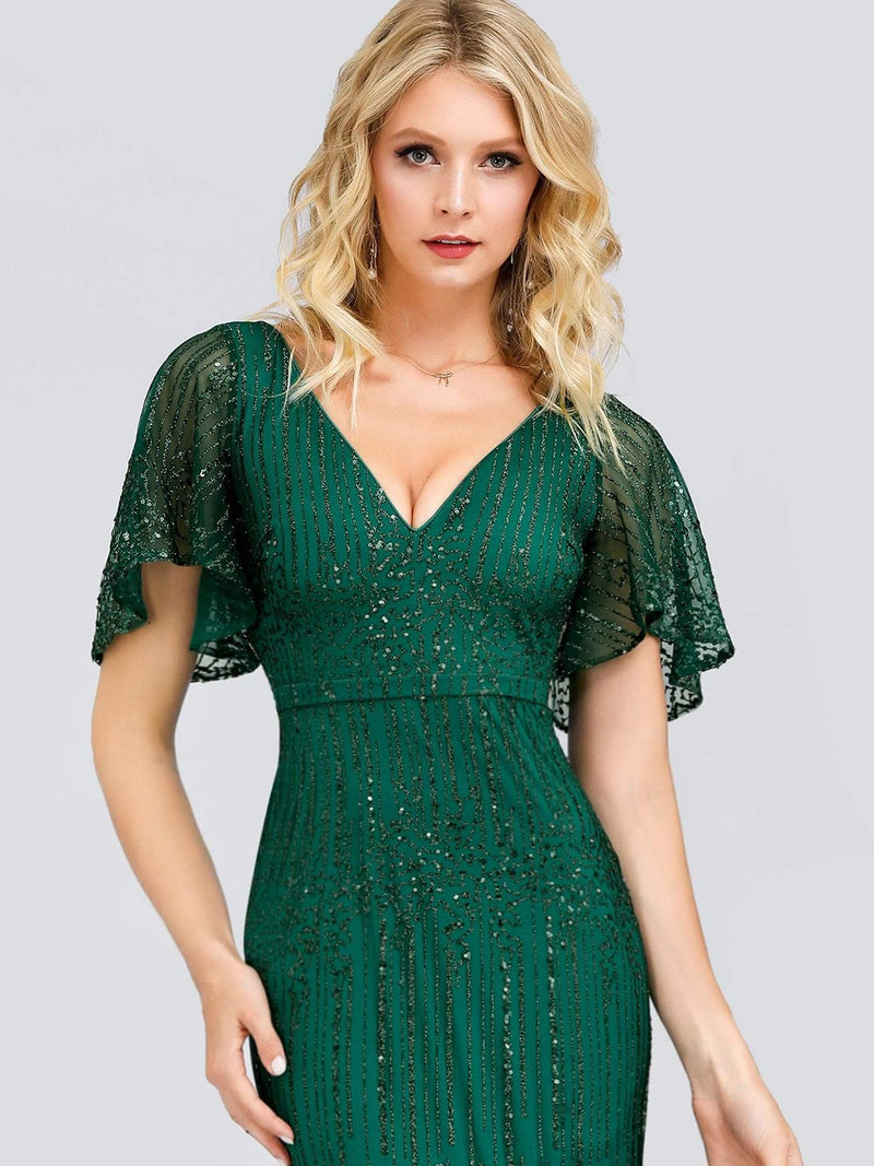 Deep V Neck Shiny Fishtail Evening Dress With Flutter Sleeves-Dark Green 10
