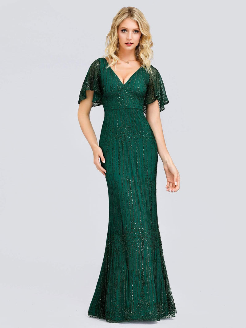 Deep V Neck Shiny Fishtail Evening Dress With Flutter Sleeves-Dark Green 6
