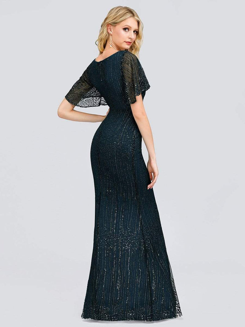 Deep V Neck Shiny Fishtail Evening Dress With Flutter Sleeves-Dusty Navy 2