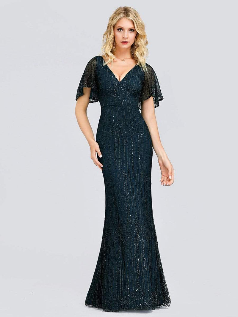 Deep V Neck Shiny Fishtail Evening Dress With Flutter Sleeves-Dusty Navy 1