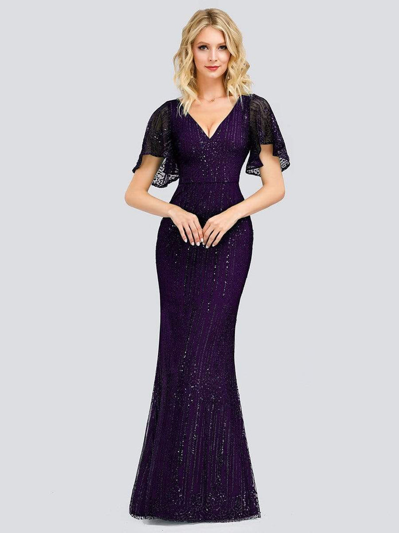 Deep V Neck Shiny Fishtail Evening Dress With Flutter Sleeves-Dark Purple 1