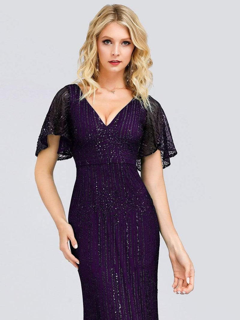Deep V Neck Shiny Fishtail Evening Dress With Flutter Sleeves-Dark Purple 3