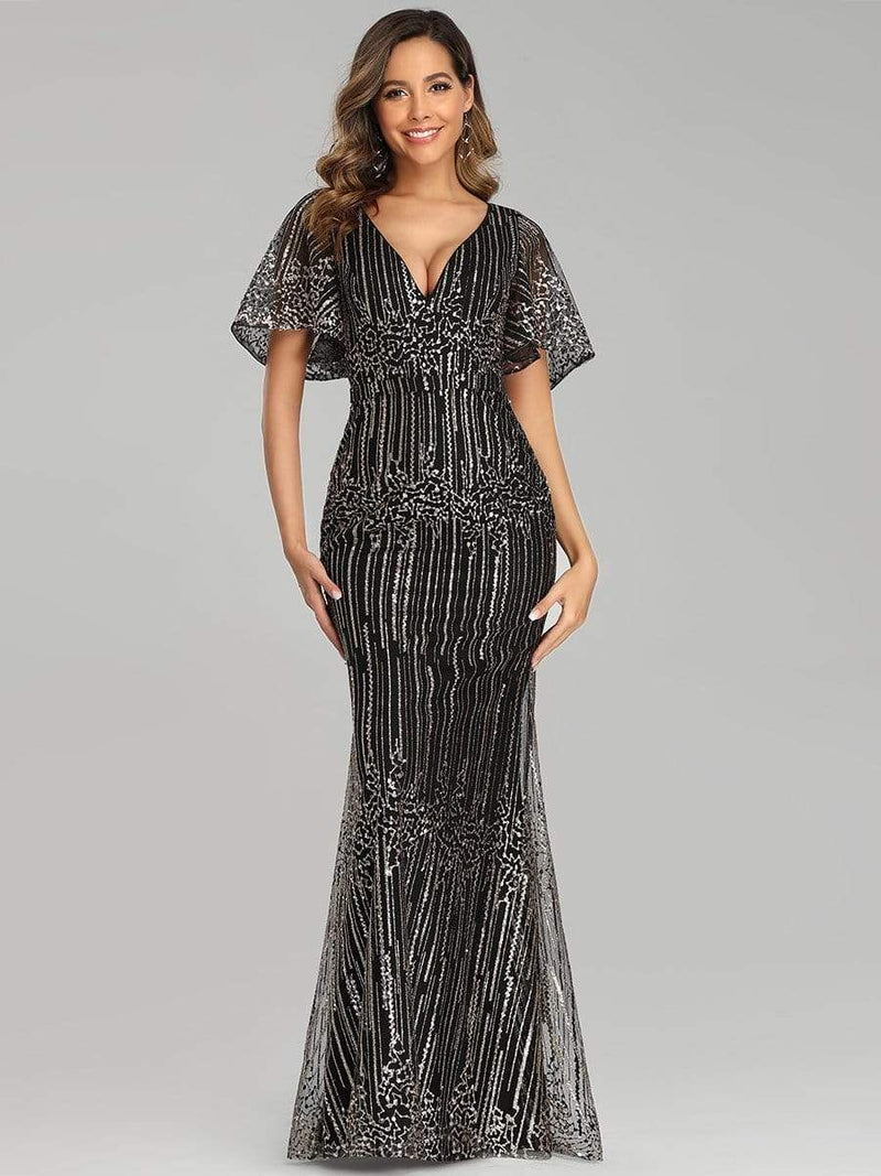 Deep V Neck Shiny Fishtail Evening Dress With Flutter Sleeves-Gold 1