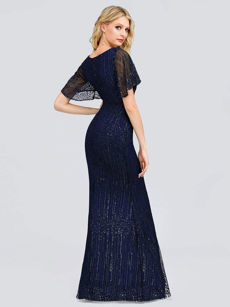 Deep V Neck Shiny Fishtail Evening Dress With Flutter Sleeves-Navy Blue 2