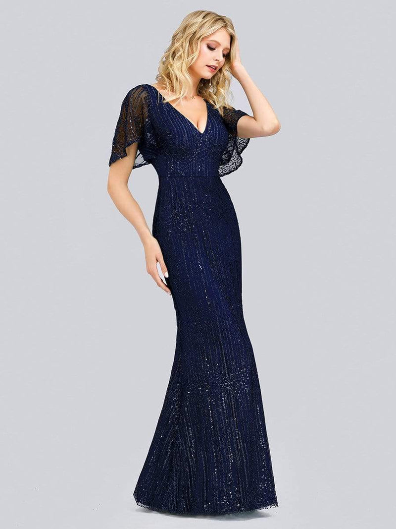 Deep V Neck Shiny Fishtail Evening Dress With Flutter Sleeves-Navy Blue 3