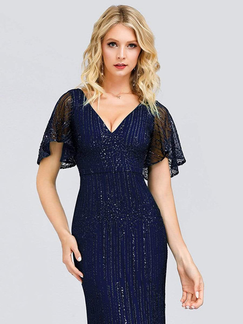 Deep V Neck Shiny Fishtail Evening Dress With Flutter Sleeves-Navy Blue 5
