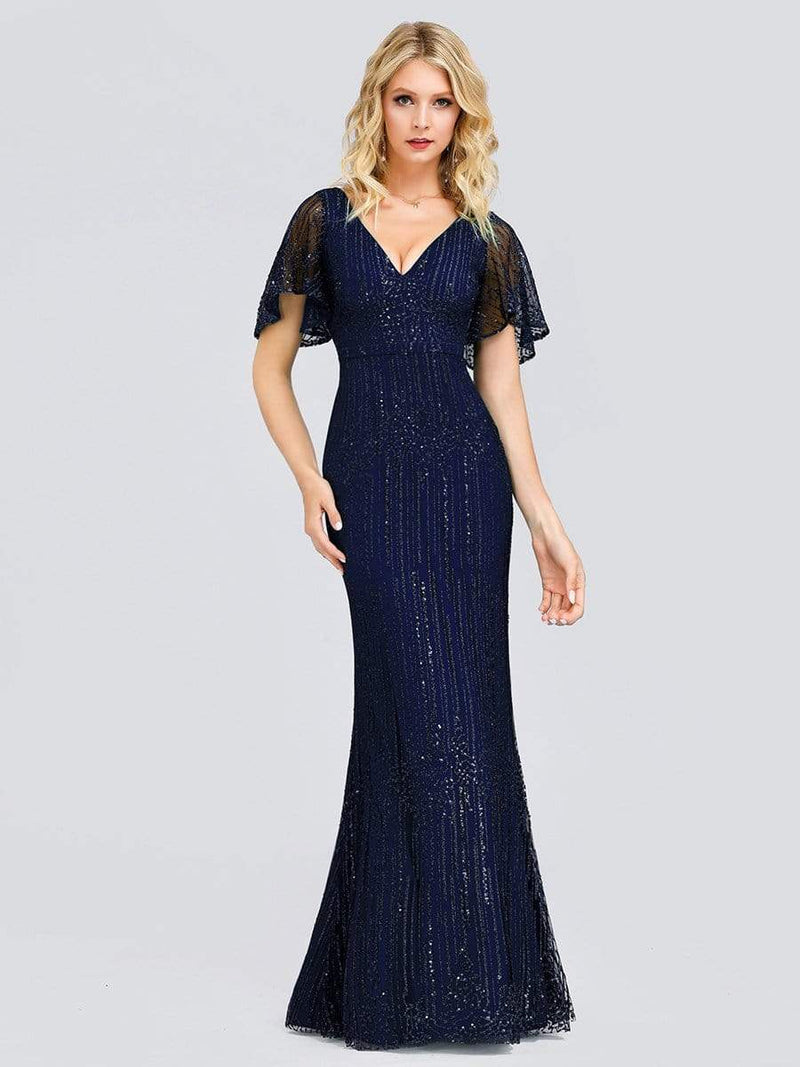Deep V Neck Shiny Fishtail Evening Dress With Flutter Sleeves-Navy Blue 1