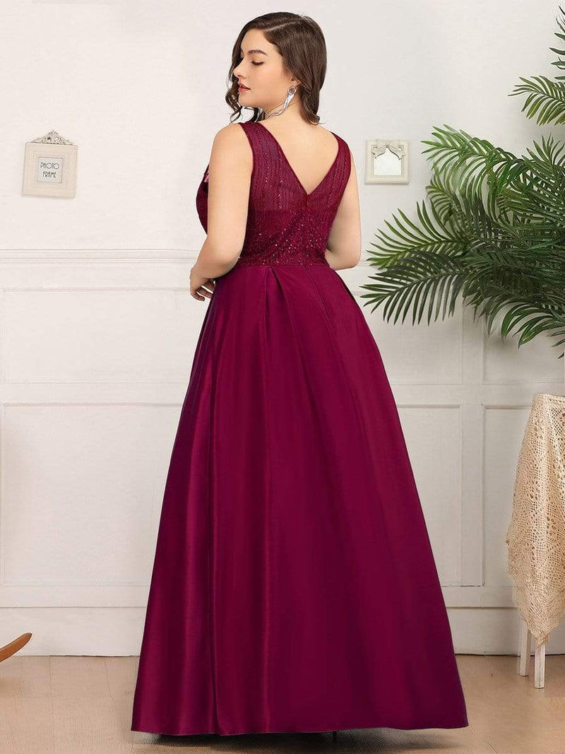 Elegant Deep V Neck Floor Length Evening Dress-Burgundy 7