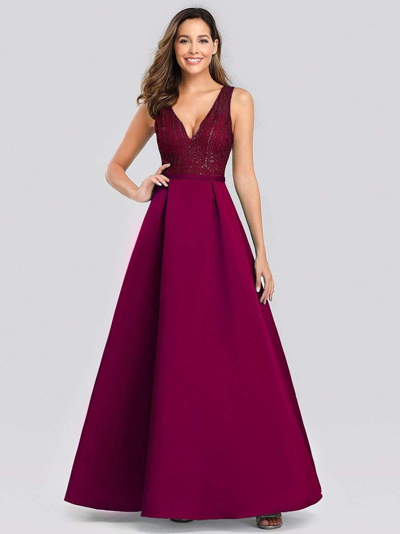 Elegant Deep V Neck Floor Length Evening Dress-Burgundy 1