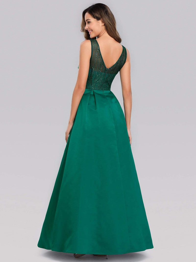 Elegant Deep V Neck Floor Length Evening Dress-Dark Green 4