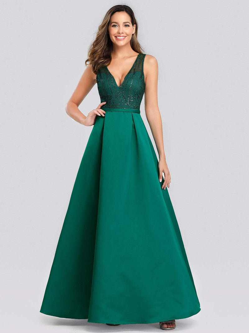 Elegant Deep V Neck Floor Length Evening Dress-Dark Green 1