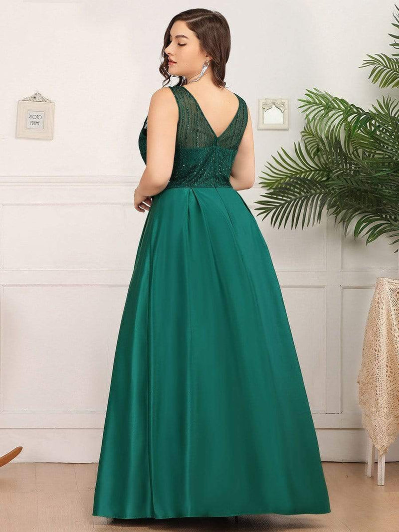 Elegant Deep V Neck Floor Length Evening Dress-Dark Green 7