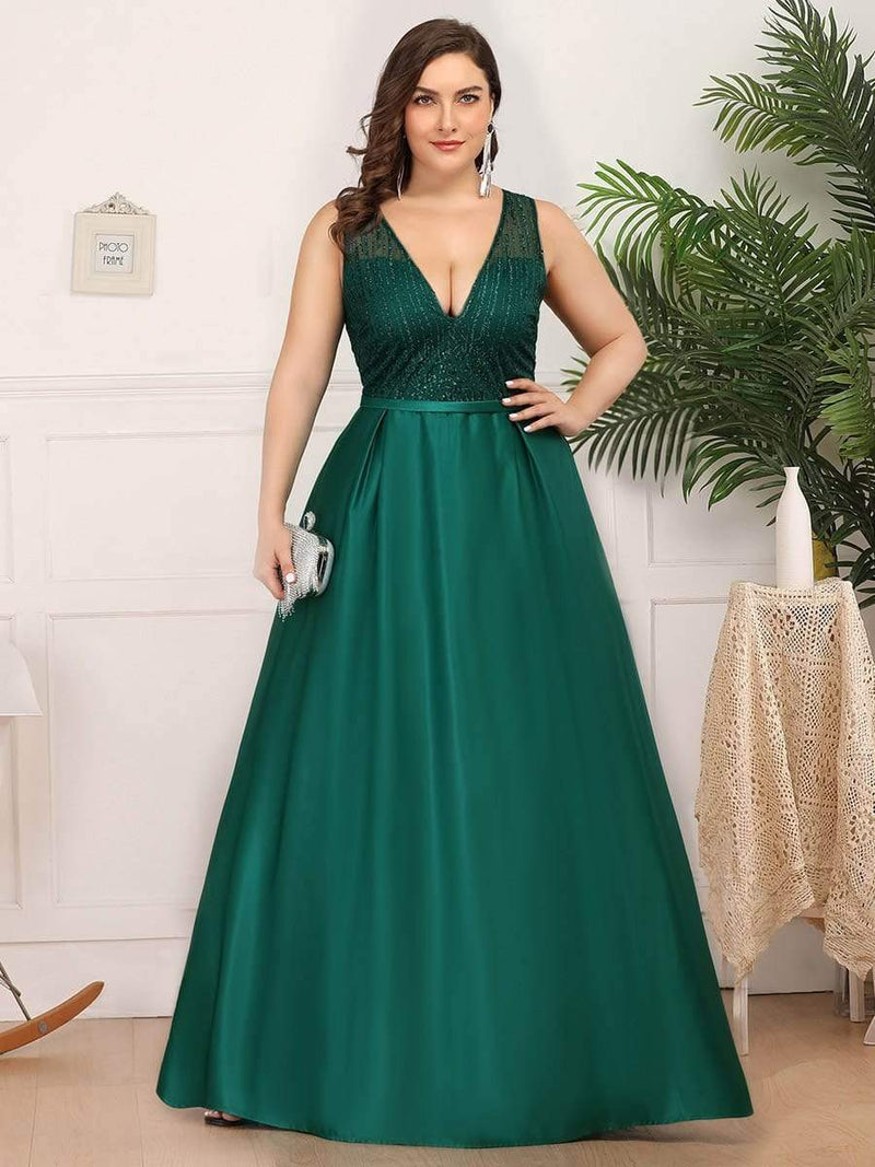 Deep V Neck Floor Length Plus Size Sparkly Evening Gown Dresses-Dark Green 1