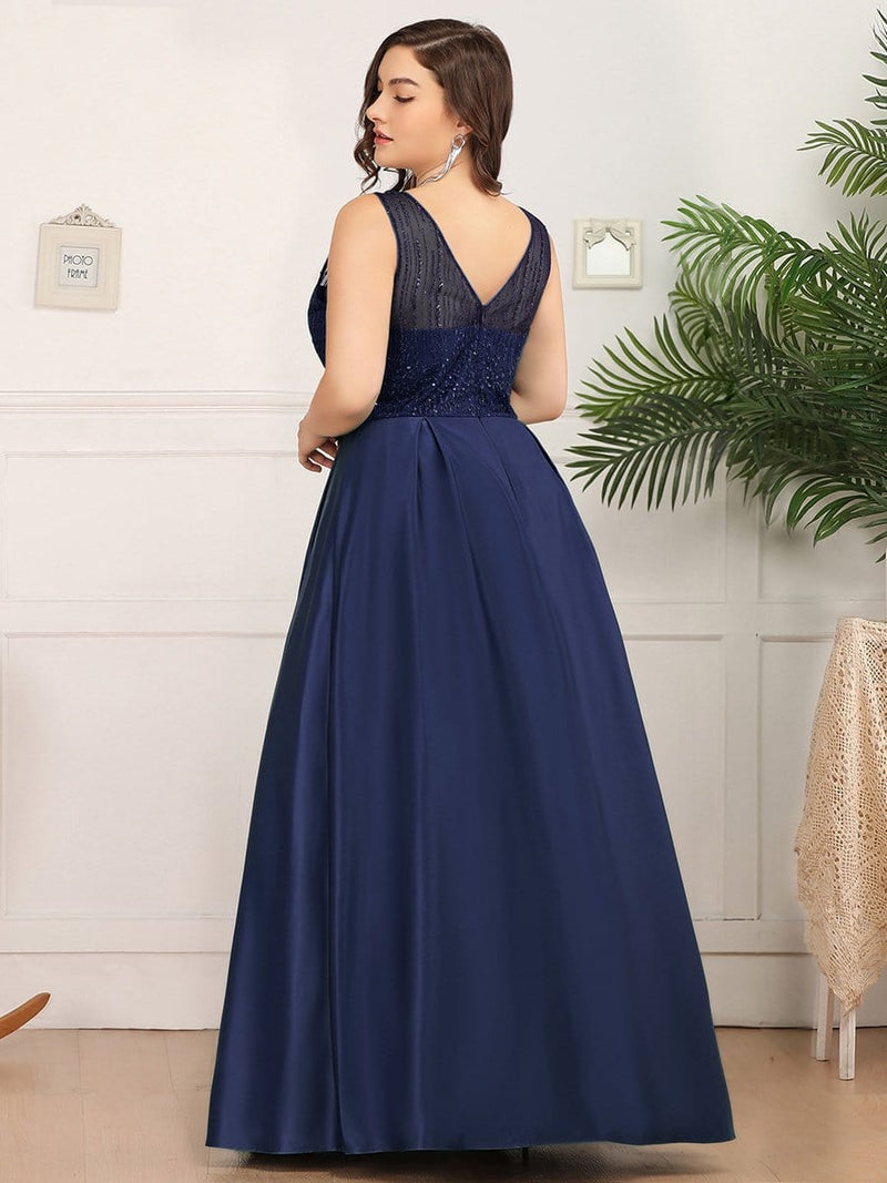 Deep V Neck Floor Length Plus Size Sparkly Evening Gown Dresses-Navy Blue 2
