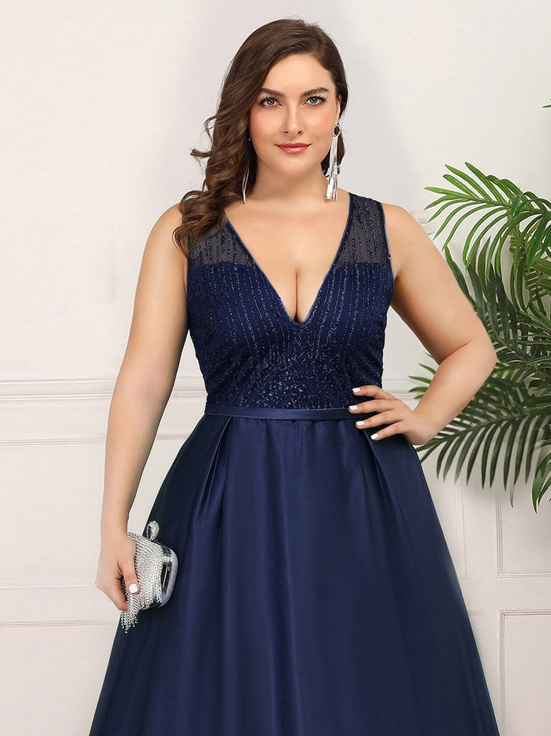 Deep V Neck Floor Length Plus Size Sparkly Evening Gown Dresses-Navy Blue 5
