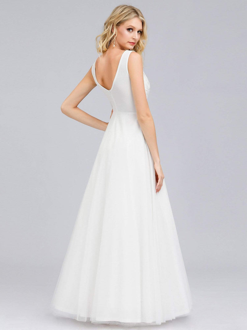 Double V-Neck Embroidered Wedding Dress-Cream 2