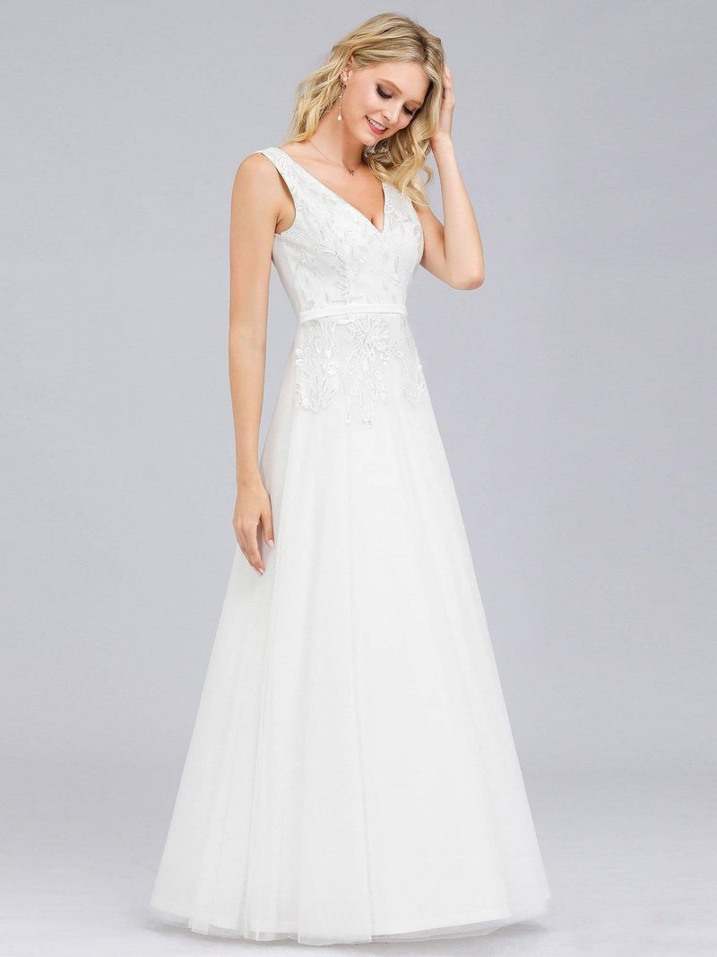 Double V-Neck Embroidered Wedding Dress-Cream 3