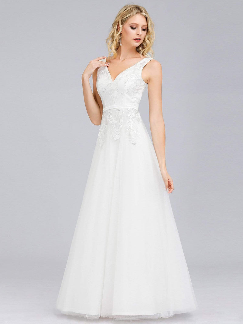 Double V-Neck Embroidered Wedding Dress-Cream 4