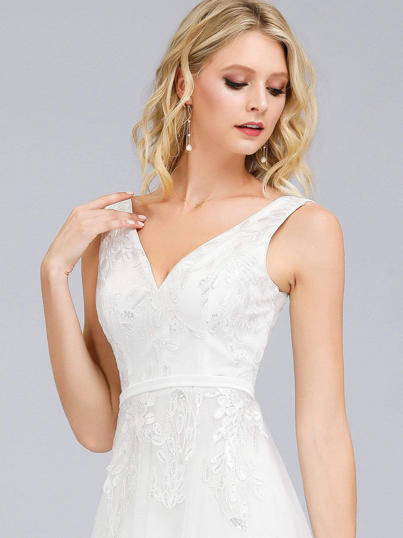 Double V-Neck Embroidered Wedding Dress-Cream 5